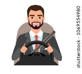 businessman driving a car. man... | Shutterstock .eps vector #1069554980