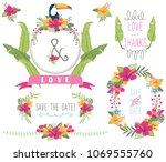 aloha wedding floral collections | Shutterstock .eps vector #1069555760