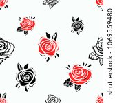 rock and roll seamless pattern... | Shutterstock .eps vector #1069559480