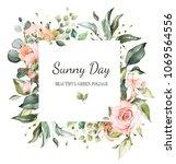card. watercolor invitation... | Shutterstock . vector #1069564556