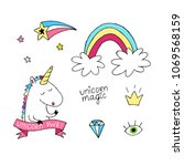 unicorn vector set. hand drawn... | Shutterstock .eps vector #1069568159