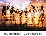 beach party double exposure ... | Shutterstock . vector #1069569950