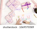 little girl drawing happy... | Shutterstock . vector #1069570589
