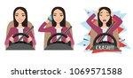 asian woman driving a car.... | Shutterstock .eps vector #1069571588