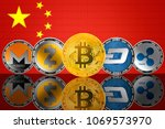 cryptocurrency coins   bitcoin  ... | Shutterstock . vector #1069573970