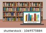 bookshelve with books on... | Shutterstock .eps vector #1069575884