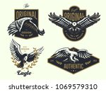 set of the vintage logo with... | Shutterstock .eps vector #1069579310