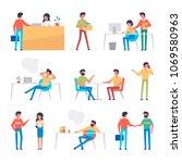 set of office workers... | Shutterstock .eps vector #1069580963