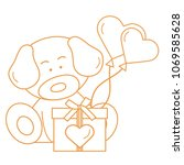 cute puppy with gift  hearts...   Shutterstock .eps vector #1069585628