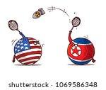 nuclear badminton north korea... | Shutterstock .eps vector #1069586348