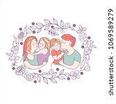 happy family. international... | Shutterstock .eps vector #1069589279
