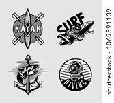 water sport vintage embleme set ... | Shutterstock .eps vector #1069591139
