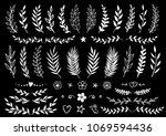 set of hand drawn branches and... | Shutterstock .eps vector #1069594436