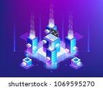 server room rack  blockchain... | Shutterstock .eps vector #1069595270