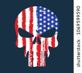 skull with american flag... | Shutterstock .eps vector #1069599590