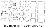 set of arrows  rectangles ... | Shutterstock .eps vector #1069600343