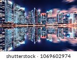 view of marina bay at night in... | Shutterstock . vector #1069602974