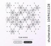 teamwork concept in honeycombs... | Shutterstock .eps vector #1069611128