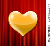 vector golden heart celebration ... | Shutterstock .eps vector #1069611344