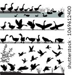 silhouettes of gooses flying... | Shutterstock .eps vector #1069612400