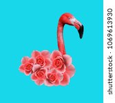 contemporary art collage ... | Shutterstock . vector #1069613930