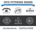 set of vector fitness aerobics... | Shutterstock .eps vector #1069614308