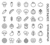 cute line vegetable icon set | Shutterstock .eps vector #1069618700