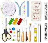 sewing isolated icons set of... | Shutterstock .eps vector #1069619030