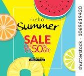 summer sale discount 50 percent ... | Shutterstock .eps vector #1069619420