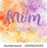 mother's day greeting card with ... | Shutterstock .eps vector #1069624103
