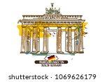 brandenburg gate. berlin ... | Shutterstock .eps vector #1069626179