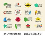 funny summer icons   colourful... | Shutterstock .eps vector #1069628159