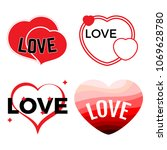 set of four red hearts on a... | Shutterstock .eps vector #1069628780