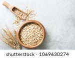 organic rolled oats in wooden... | Shutterstock . vector #1069630274