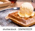 closeup of waffles and vanila...   Shutterstock . vector #1069633229