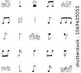 music notes icon set | Shutterstock .eps vector #1069635053