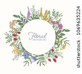 round frame or border decorated ... | Shutterstock .eps vector #1069635224