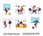 set of men and women sitting at ... | Shutterstock .eps vector #1069635299