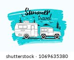car towing caravan trailer or... | Shutterstock .eps vector #1069635380