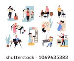 collection of male and female... | Shutterstock .eps vector #1069635383