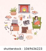 collection of hygge attributes  ... | Shutterstock .eps vector #1069636223