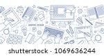 banner with hands of designer... | Shutterstock .eps vector #1069636244