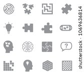 puzzle icons. gray flat design. ... | Shutterstock .eps vector #1069636814