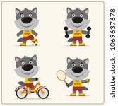 set of funny wolf is engaged in ... | Shutterstock .eps vector #1069637678