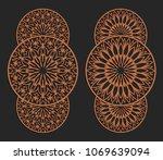 laser cutting set. wall panels. ... | Shutterstock .eps vector #1069639094