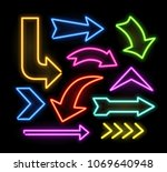 neon glowing arrow pointer set  ... | Shutterstock .eps vector #1069640948