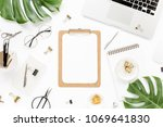 home office workspace mockup... | Shutterstock . vector #1069641830