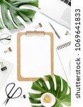 home office workspace mockup...   Shutterstock . vector #1069641833