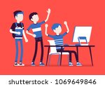 teens fun at computer. group of ... | Shutterstock .eps vector #1069649846