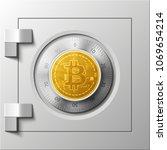 hud golden bitcoin armored box. ... | Shutterstock .eps vector #1069654214